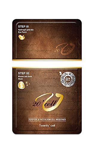 - 2 Step Eye & Face Bloom Cell 24K Gold Mask Pack (5sheets) - Step1 Korean skin care face mask - Step 2 Under eye patches - Anti-aging and Wrinkle Care Under Eye Bags Treatment Remove Blemish