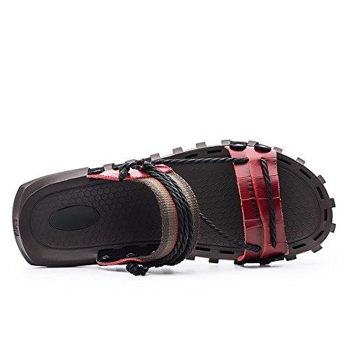 de Playa Hombres Zapatillas de Red Genuino para para los Cáñamo Cáñamo Hombre Antideslizantes Zapatillas Zapatillas de de Sandalias Cuero Informales PXRqnA