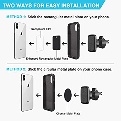 Car Phone Mount, Lipizzaner Magnetic Phone Car Mount, Air Vent Phone Holder for Car, One Hand Operation and One Second Installation, Strong 6 Magnet Suction, with 4 Metal Plates - Black