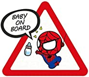 """Meitinalife Little Superhero Baby on Board Car Stickers and Decals 5""""x6"""" Reflective Kids ON Board St"""