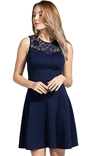 Sylvestidoso Women's A-Line Sleeveless Pleated Little Dark Navy Blue Cocktail Party Dress with Floral Lace (XL, Navy)