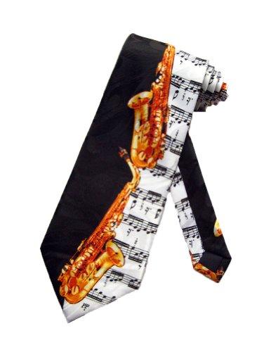 Necktie Black Background (Steven Harris Mens Alto Saxophone Necktie - Black - One Size Neck Tie)