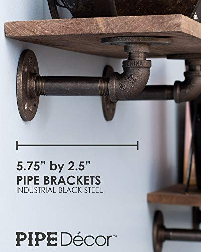 Rustic Industrial Pipe Brackets Floating Shelves by Pipe Decor, Distressed Aged Wood Paired with Iron Pipes Bracket, Wall Mounted Hanging Shelf, Reclaimed and Barn Wood Inspired, 24 Inch Grey 2 Pack by PIPE DÉCOR (Image #1)