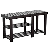 HOMFA Bamboo Shoe Rack Bench 2 Tier Wooden Boot Organizing Rack Entryway Storage Shelf