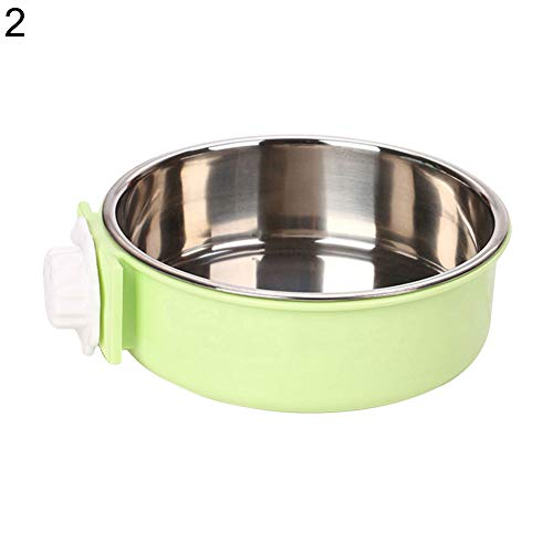 whatBYDs Dog Feeder Bowl Stainless Steel Hanging Cage Fixed Pet Food Water Flatware - Light Green S 2