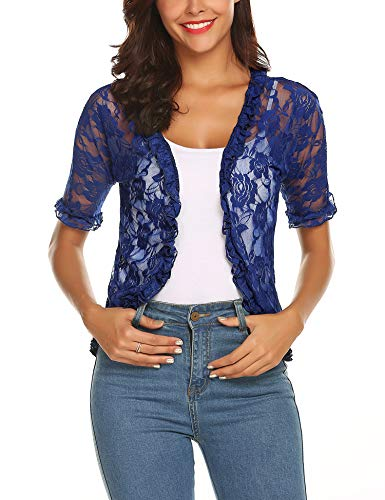 URRU Women's Lace Crochet Cardigan Ruffle Half Sleeve Open Front Casual Bolero Shrug Royal Blue XL