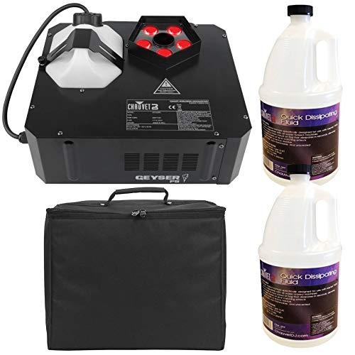 (Chauvet DJ Geyser P5 LED Fog Machine with Quick Dissipating Fog Fluid and Padded Carry Case Package)