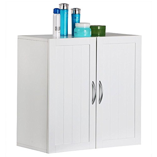 Bathroom Vanity Oak Unit (Topeakmart White Wooden Bathroom Wall Cabinet Toilet Medicine Storage Organizer with Adjustable Shelf Cupboard Unit)