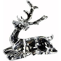 "Renaissance 2000 Inc 5"" H X 5"" W Clear Acrylic Sitting Reindeer 5"""