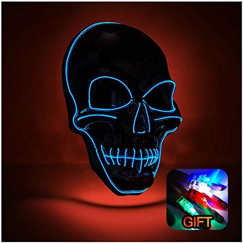 Halloween Mask Led Light up Purge Mask for Halloween Festival Party (Red(LED Skull Mask+LED Finger Lights))