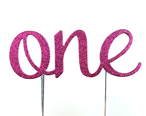 Hot Pink Cake - CMS Design Studio Handmade 1st First Birthday Cake Topper Decoration - One - Made in USA with Double Sided Glitter Stock (Hot Pink)
