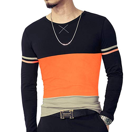 LOGEEYAR Mens Cotton Fitted Long-Sleeve Contrast Color Stitching T-Shirt (XL, L-Orange)...