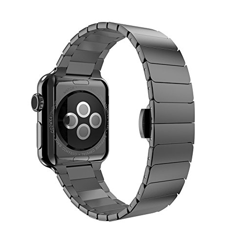 Apple Watch Band,iSank Link bracelet Steel Metal Replacement Strap Wrist Band for apple watch Apple Watch & Sport & Edition iWatch 42mm With Adapter Clasp-Black by iSank