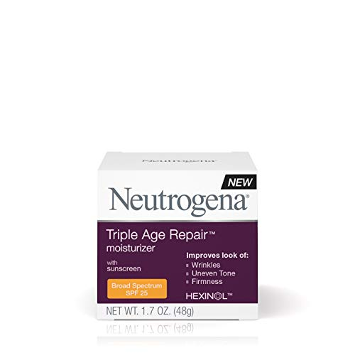 41p9Ybm zTL - Neutrogena Triple Age Repair Anti-Aging Face Moisturizer with SPF 25 Sunscreen & Vitamin C, Dark Spot Remover & Firming Face & Neck Cream with Glycerin & Shea Butter, 1.7 oz