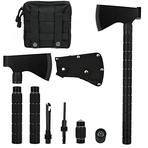 IUNIO Camping Axe Multi-tool Hatchet Survival Kit Tactical Tomahawk Folding Portable Camp Ax with Sheath Hammer Compass Flint Whistle for Outdoor Hiking Backpacking Hunting Emergency 17 inch (Upgrade)