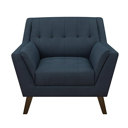Emerald Home Binetti Navy Accent Chair with Angular Arms And Legs, Deep Tufting, And Stitching Details For Sale