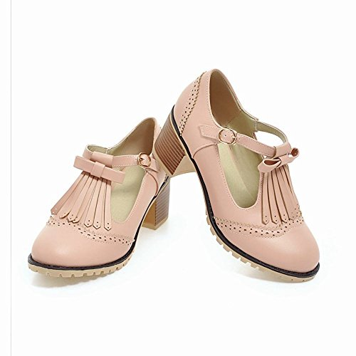 MissSaSa Damen Chunky heel T-Spange Schleife Pumps mit Quaste Pink