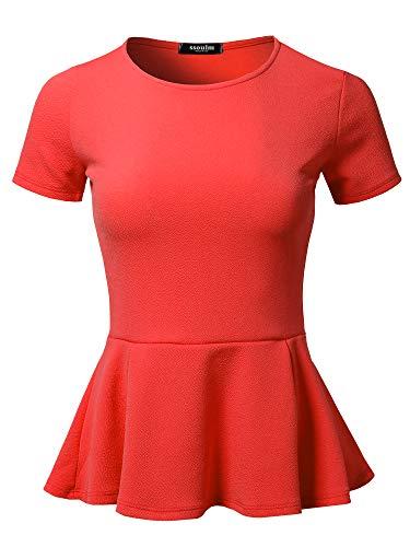 SSOULM Women's Classic Stretchy Short Sleeve Flare Peplum Blouse Top Tangerine M