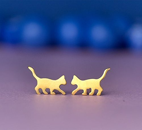Cat Earrings Cat Studs sterling silver Kids Earrings Teen Jewelry Rose Cat Gold pet jewelry Kitten earrings gift spring animal earrings 0.0014