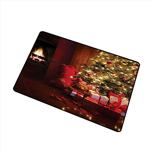 duommhome Outdoor Door mat Christmas Xmas Scene Celebrations with Tree and Gifts by The Fireplace Artful Design Image W24 xL35 Machine wash/Non-Slip