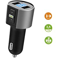 Bluetooth FM Transmitter, Ann Bully Wireless Bluetooth Car FM Radio Adapter with Hands-free Calling, Car Kit with Dual USB Port Charger 5V/3.4A for iPhone Samsung, etc.
