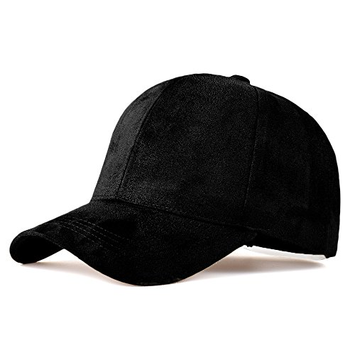 LIXYIT Faux Leather Suede Snapback Baseball Cap Adjustable Casual 6 Panel Plain Dad Hat Black (One size fits most) Faux Leather Panel