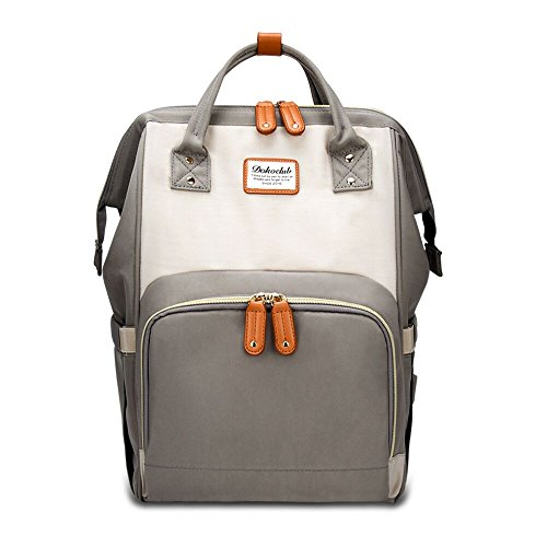 Abear Diaper Bag Backpack Waterproof Travel Mummy Nappy Bags, Large Capacity and Multi-Function Back Pack Organizer with Baby Insulated Pockets (Ivory&Grey)