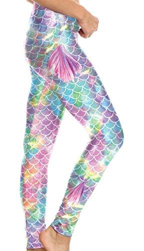 Women Mermaid Leggings Elestic Waist Fish Scale Fin Print Plus Size Purple XL