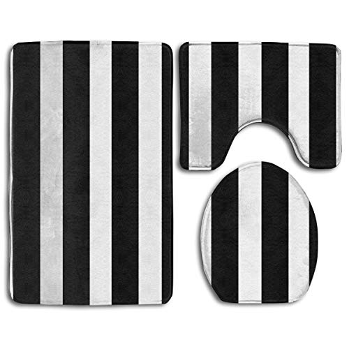 TERPASTRY Black White Striped Bathroom Rug Mats Set 3 Piece Toilet Carpet Rugs Includes Contour Mat...