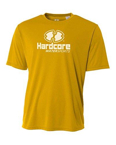 Hardcore Mens Rash Guard Surf Swim Shirt Water Sports SPF Protection Casual Fit Gold ()