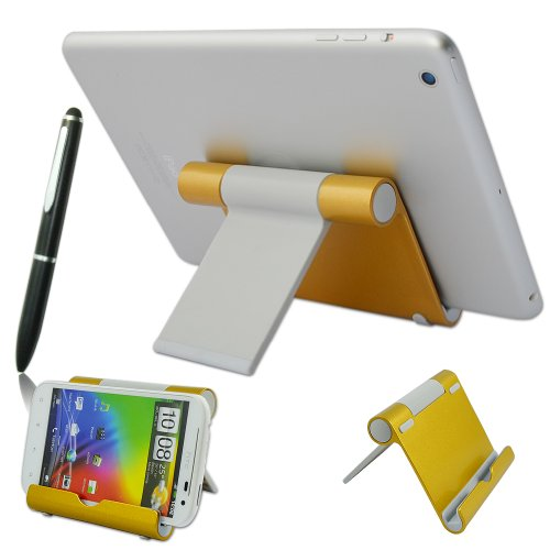 First2savvv golden universal multi-angle Luxury Polished Stainless Steel Stand dock docking station for Huawei P7 Arsenal Edition Huawei Ascend Y550 Huawei Ascend y330 Nexus 6 with stylus pen (Nokia Nexus 6)