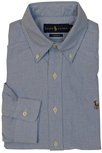 (RALPH LAUREN Polo Mens Long Sleeve Button Down Shirt-BSR Blue-Large)