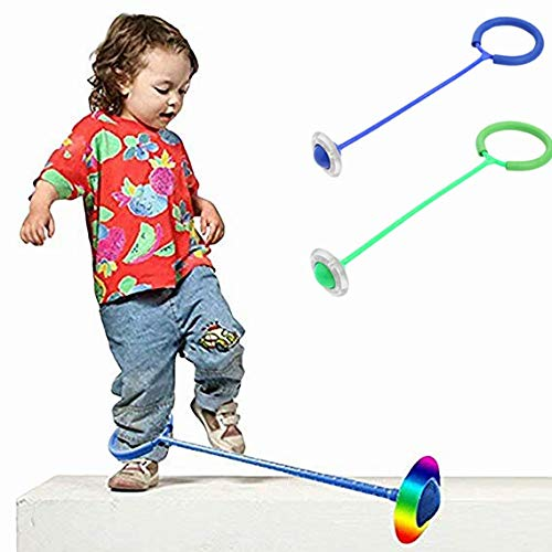 Myfreed Flashing Jumping Ring Children Colorful Ankle Skip Jump Ropes Sports Swing Ball for Kids Boys Girls Toy Pink+Green