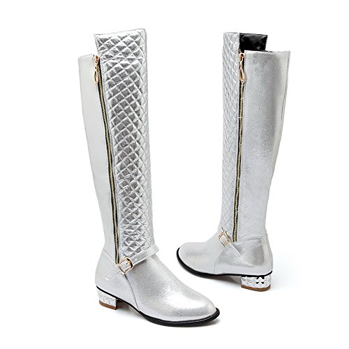 Heels Buckle Boots Trekking Ladies Imitated Square Silver Leather BalaMasa S4gxnFE