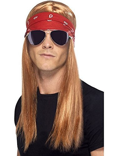 80's Costumes For Halloween (Smiffy's Men's 90's Rocker Kit, Wig, Bandana and Sunglasses, One Size, Colour: Mixed, 22405)