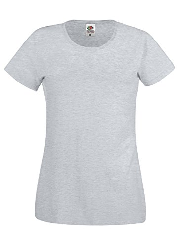 Fruit of the Loom - Camiseta de manga corta para mujer gris