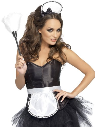 Feather Duster Costume (Fever Women's Maid Instant Kit, Headband, Apron and Feather Duster, One Size, Colour: White and Black, 43953)