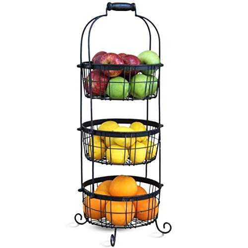 (Rustic 3 Tier Standing Fruit Baskets For Kitchen Storage. Handcrafted Vegetable and Produce Storage Basket Stand - Organize and display your in style! - 27.5