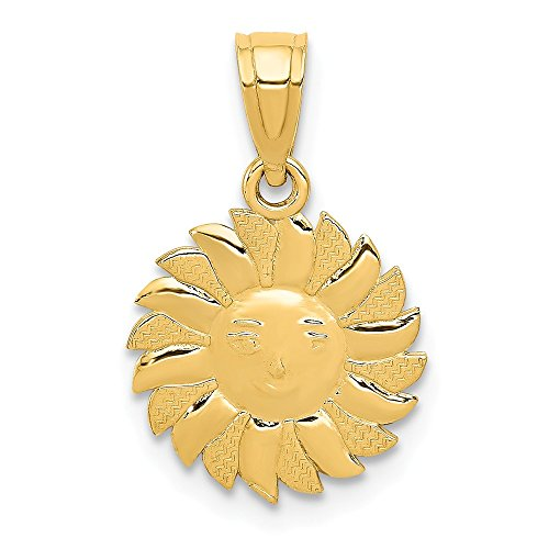 - 14k Yellow Gold Polished Sun with Face Pendant