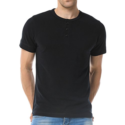 Just No Logo Men's Short Sleeve Casual Cotton Henley T-Shirt with Solid Color(L,Black) (Heavy Duty Cotton T Shirts With Pocket)