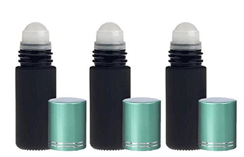 4 Bottles Frosted Black Satin Large 30ml Roll On Empty Glass Bottles for Essential Oils Refillable 1 Oz Glass Roller Ball Roll-On 30 ml Glass w/ Upscale Teal Turquoise Aluminum (Satin Black Roller Ball)