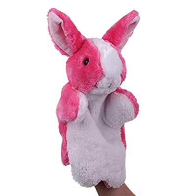 Keshiwo Cute Cartoon Animal Doll Kids Glove Hand Puppet Rabbit Plush Bunny Finger Toys (Pink): Toys & Games