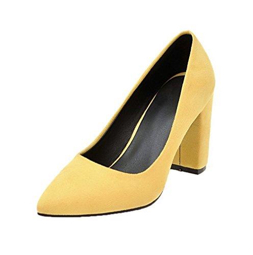 Haut Unie Tire Talon Légeres Chaussures À Couleur Femme Aalardom Dépolissement Jaune RxHgnw