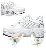 Deformation Roller Skate Shoes,2 in 1 Double Row Roller Shoes, Retractable Parkour Shoes,for Women Men Adult S
