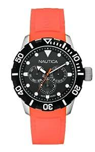 Nautica A13646G - Reloj analógico de cuarzo unisex, correa de goma color naranja