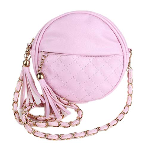 EKLCD Women Bag Tassel Zipper Round Crossbody Bag Messenger Bag Ladies Cute Roll Shoulder Bag Pink