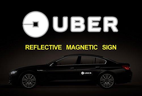 (Set of 2) BIG Reflective Magnetic UBER NEW LOGO SIGN, NEW Uber logo Sign, Car Magnet Sign (12 (12 Logo Car Magnet)