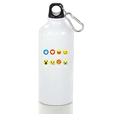 Han I Love Soccer Emoticon Emoji Funny Sayings Classic Camping White Drink Bottle Aluminum With Carabiner