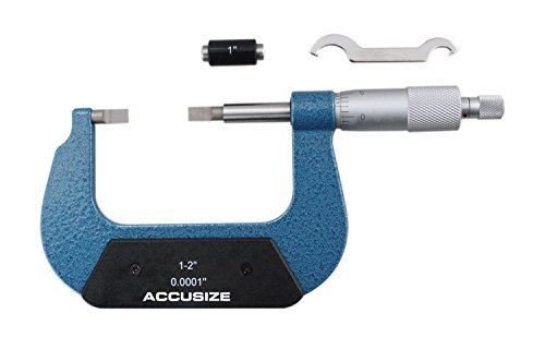 Accusize Industrial Tools 1-2'' by 0.0001'' Resolution Blade Micrometer with Lamellar Measuring Face, 2012-2001