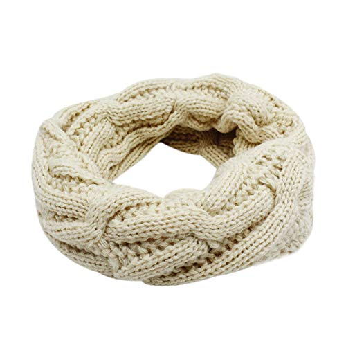 Baby Kids Warm Thick Knitted Scarf Warm Infinity Scarf Circle Loop Scarf (Beige)
